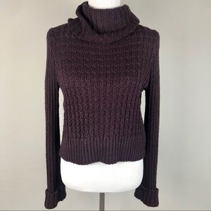 Free People Cropped Knit Turtleneck Sweater s
